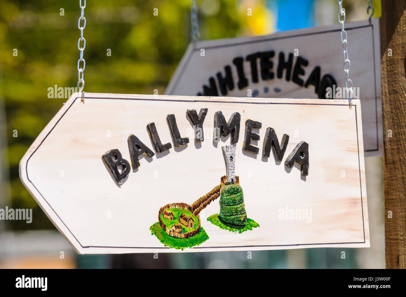 Handmade garden Direction sign to Ballymena, Northern Ireland - Stock Image