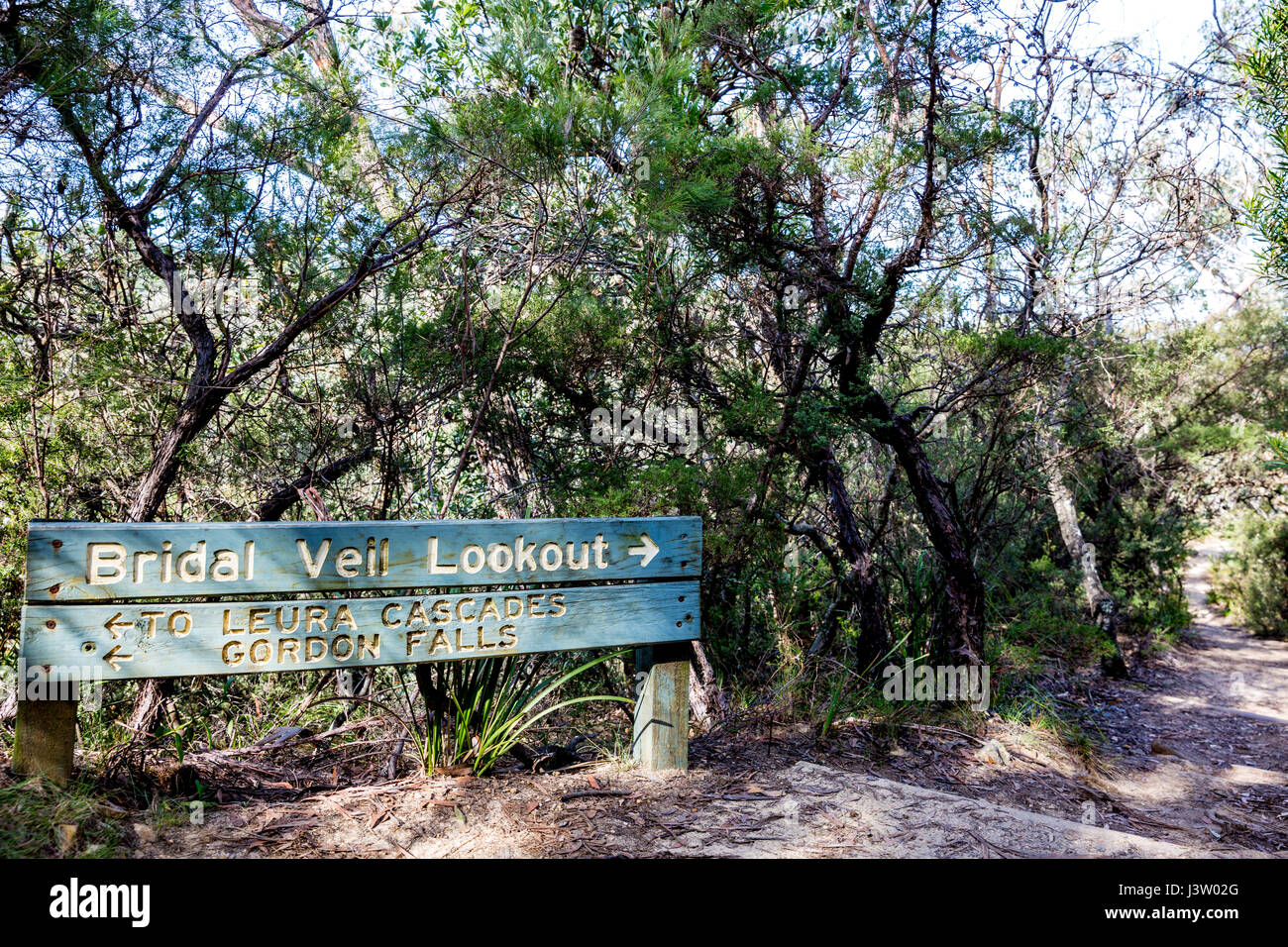 Blue Mountains national park sign for Bridal Veil Lookout, New south wales,Australia - Stock Image