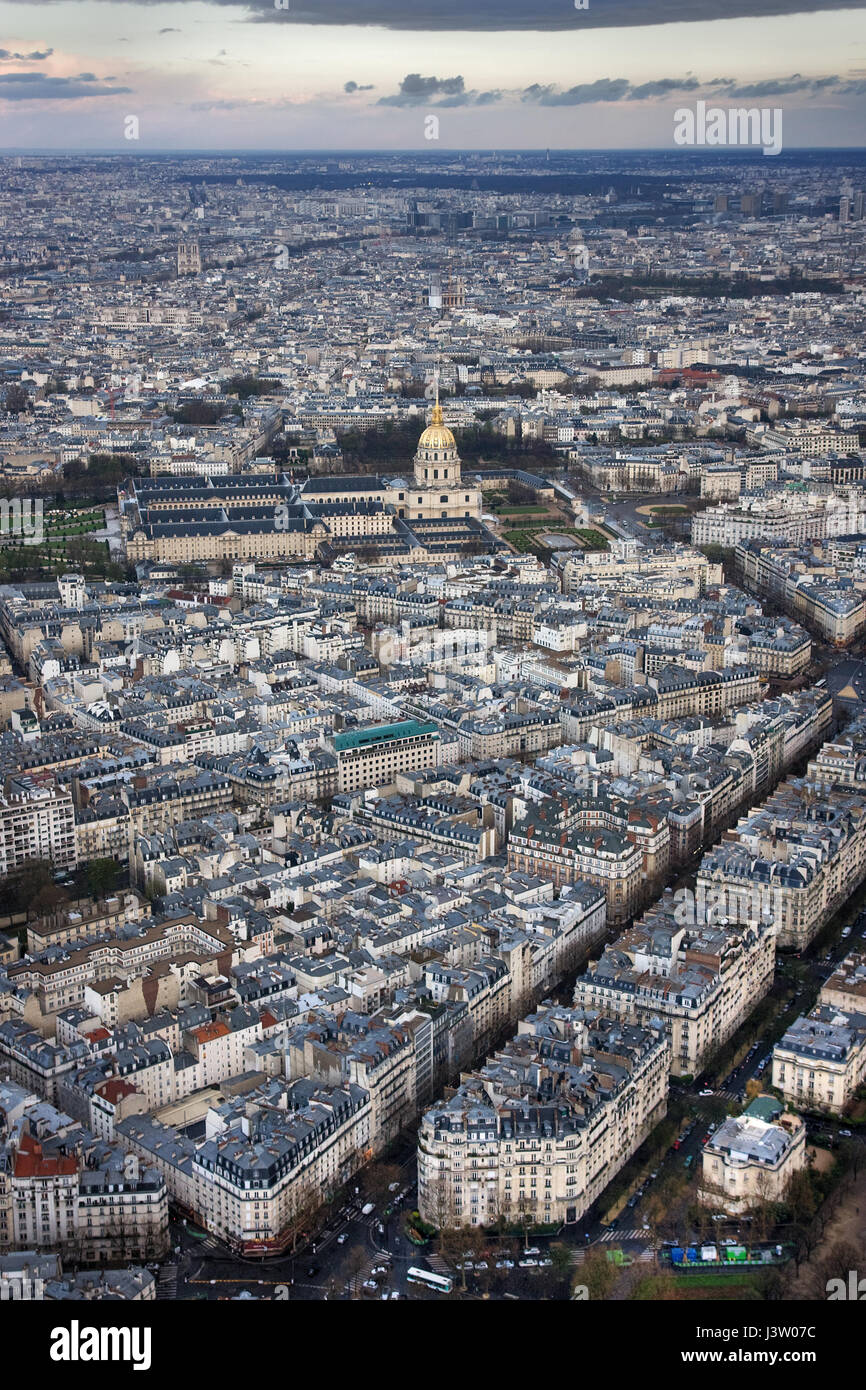 Paris and L'hotel national des Invalides in the evening. Paris. France - Stock Image
