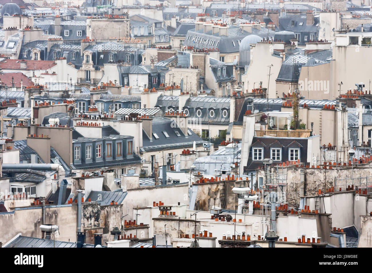View to Paris roofs from Cathedrale Notre-Dame de Paris. France. - Stock Image