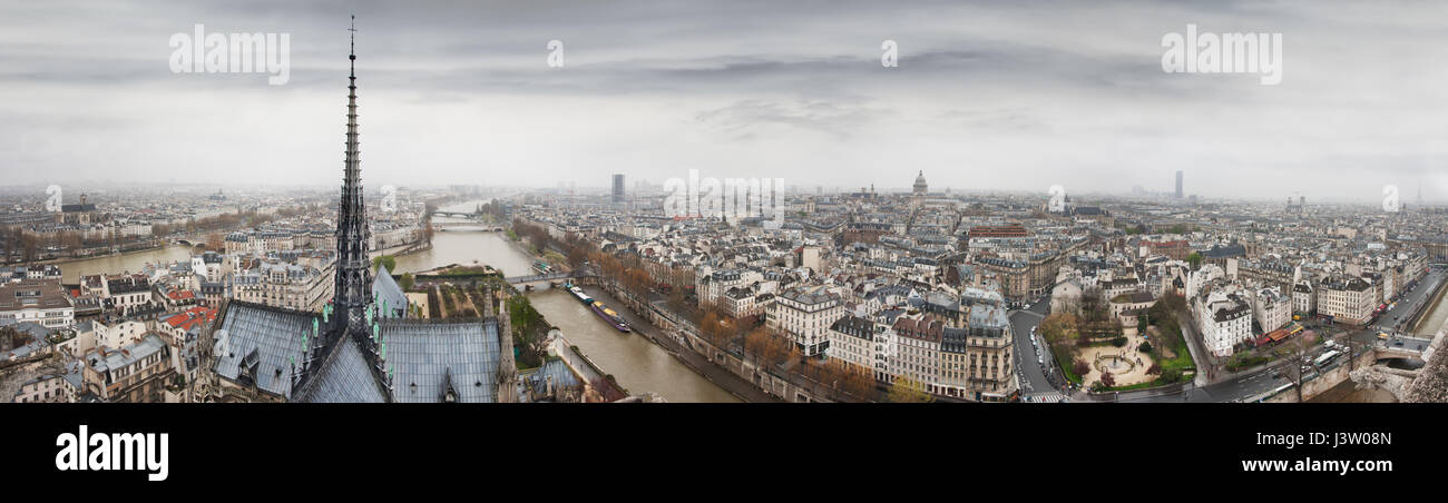 Panoramic view to Seine river, Ile de la Cite and Latin Quarter from Notre-Dame de Paris tower. Top of Notre-Dame - Stock Image