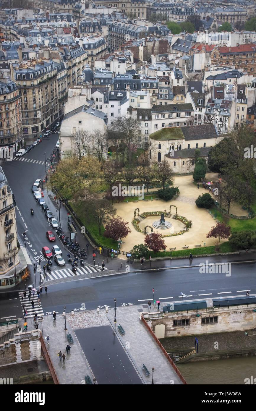 View of the Pont au Double, Square Rene Viviani, Rue Lagrange and Quai de Montebello. Paris. France - Stock Image