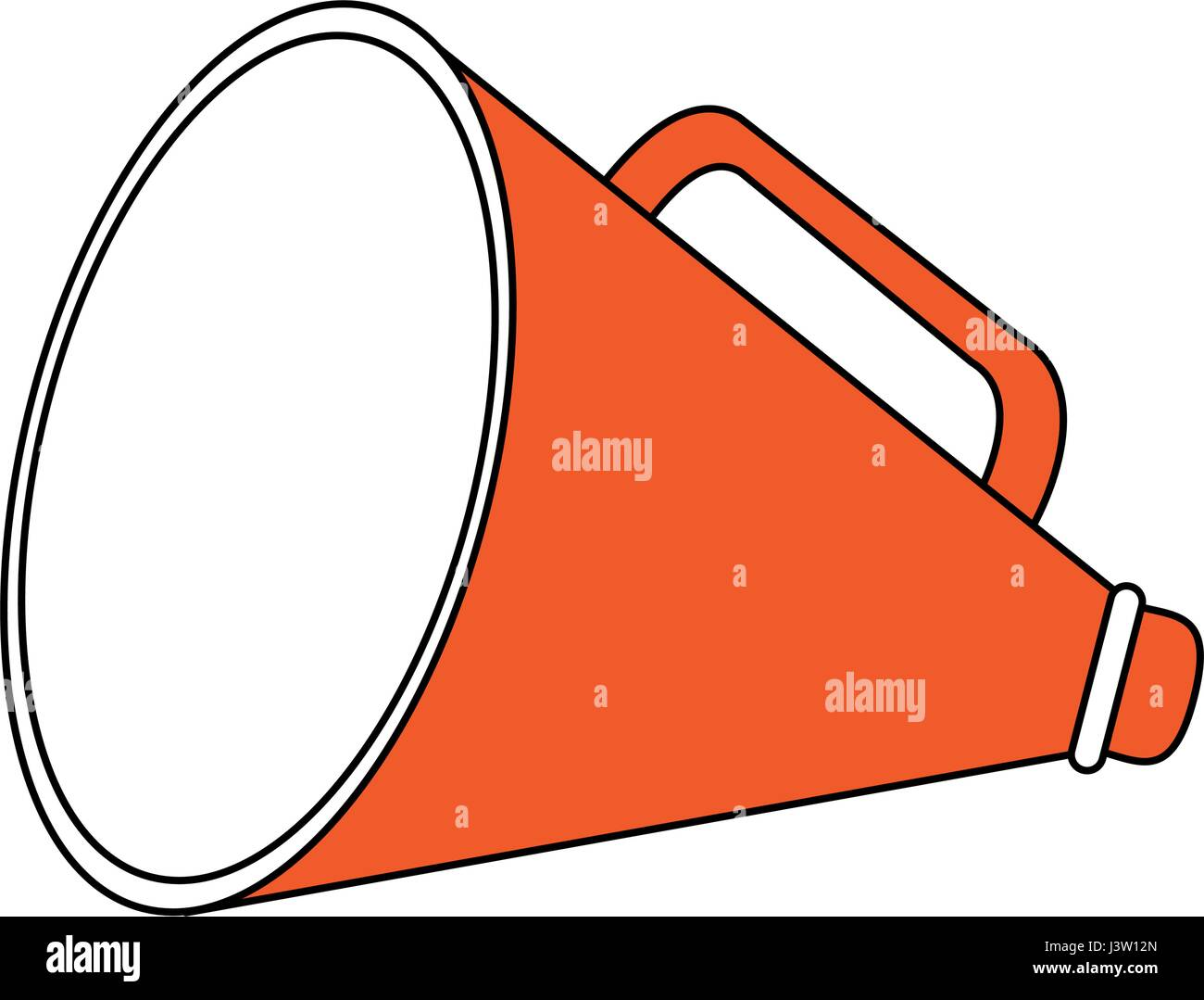 color silhouette image megaphone flat icon - Stock Vector