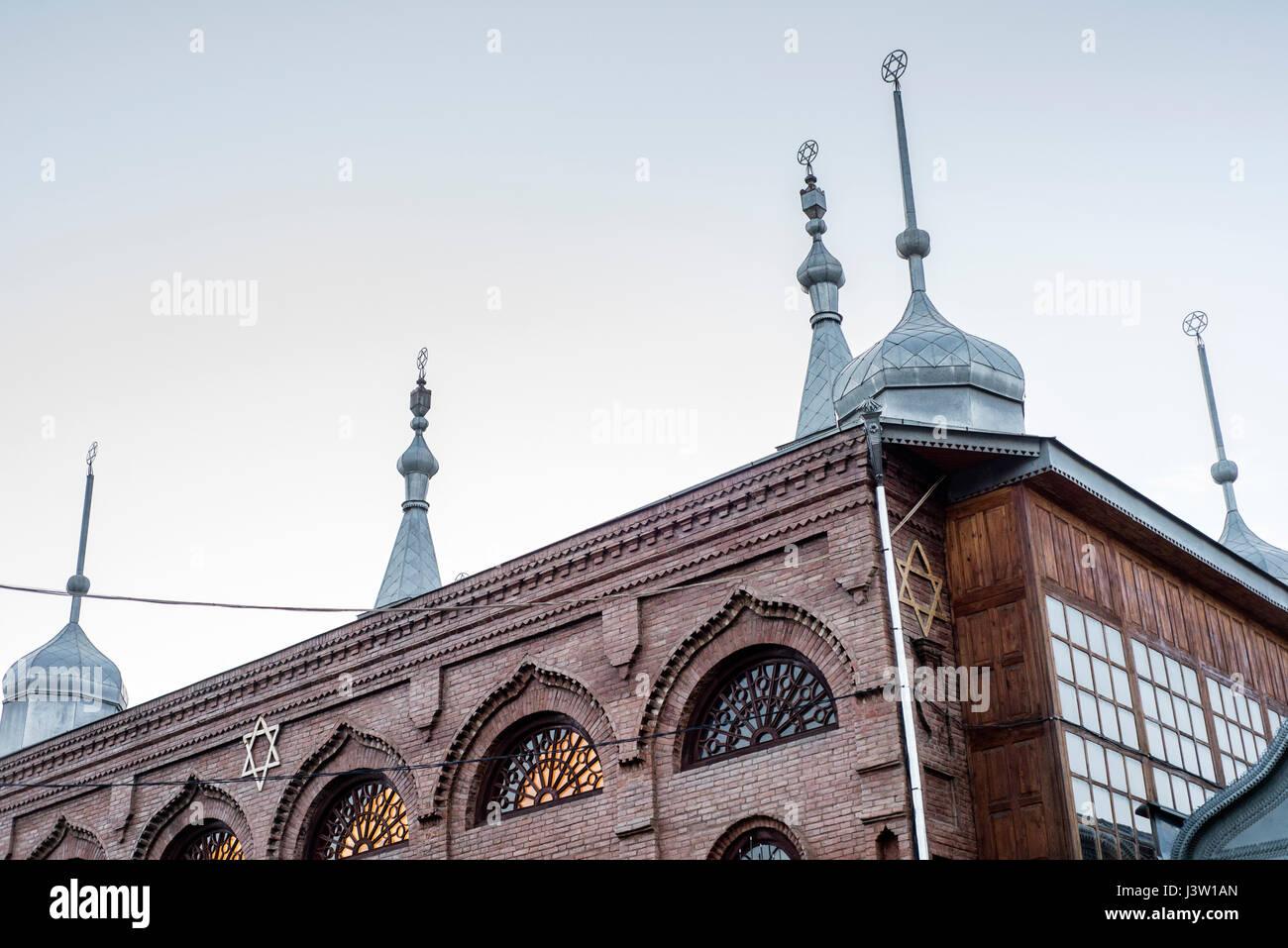 Six-domed Synagogue in Qırmızı Qəsəbə, or Red Town, Quba district of Azerbaijan. Qırmızı Qəsəbə is a biggest compact - Stock Image