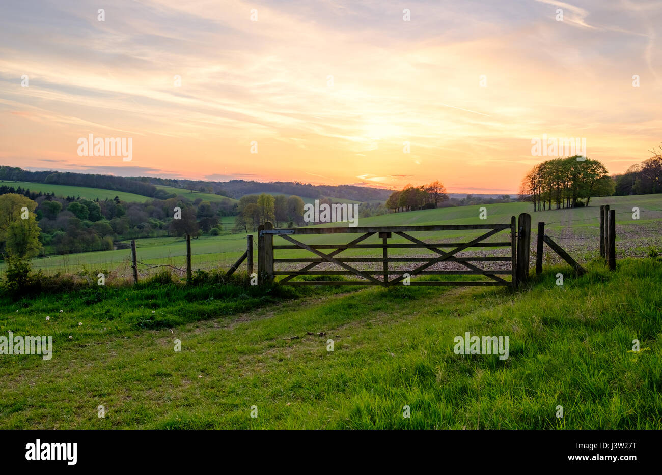 Countryside sunset over field gate - Stock Image