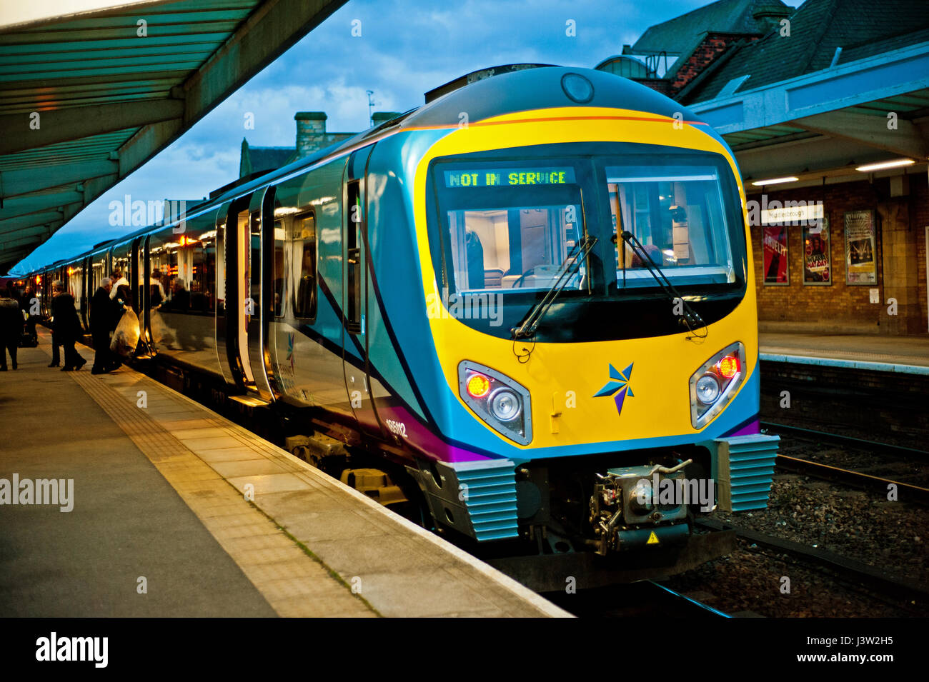 Transpennine train at Middlesbrough in a new livery - Stock Image