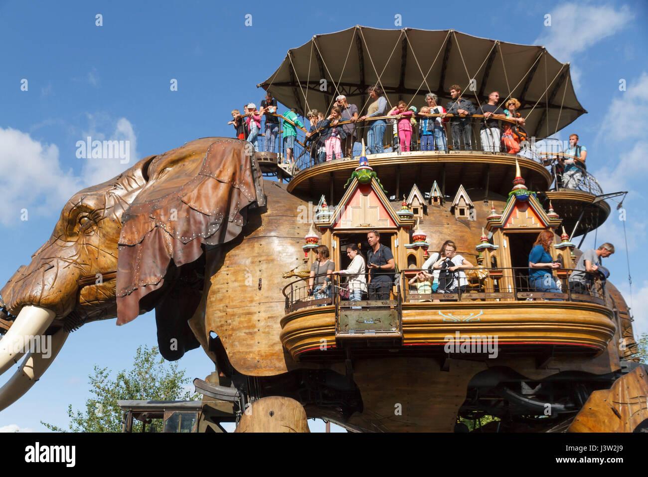 The Great Elephant at Les Machines de l'île, Nantes, France. Created by François Delarozière and Pierre Orefice's Stock Photo