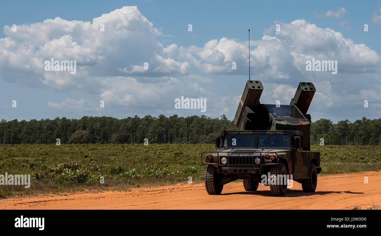 The Army Avenger's turret rotates as the vehicle drives down an Eglin Air Force Base range road April 20.  The Florida - Stock Image