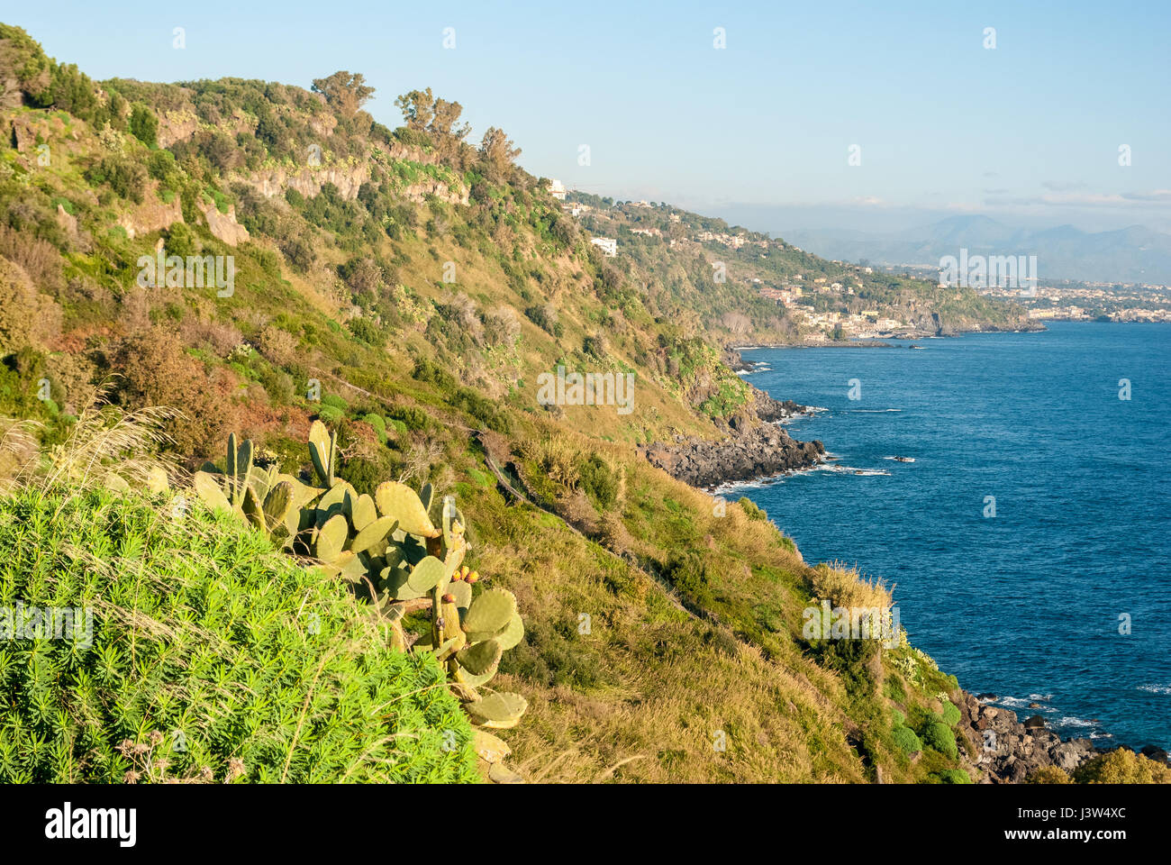 "The cliff called ""Timpa"" near Acireale, in the eastern coastline of Sicily Stock Photo"