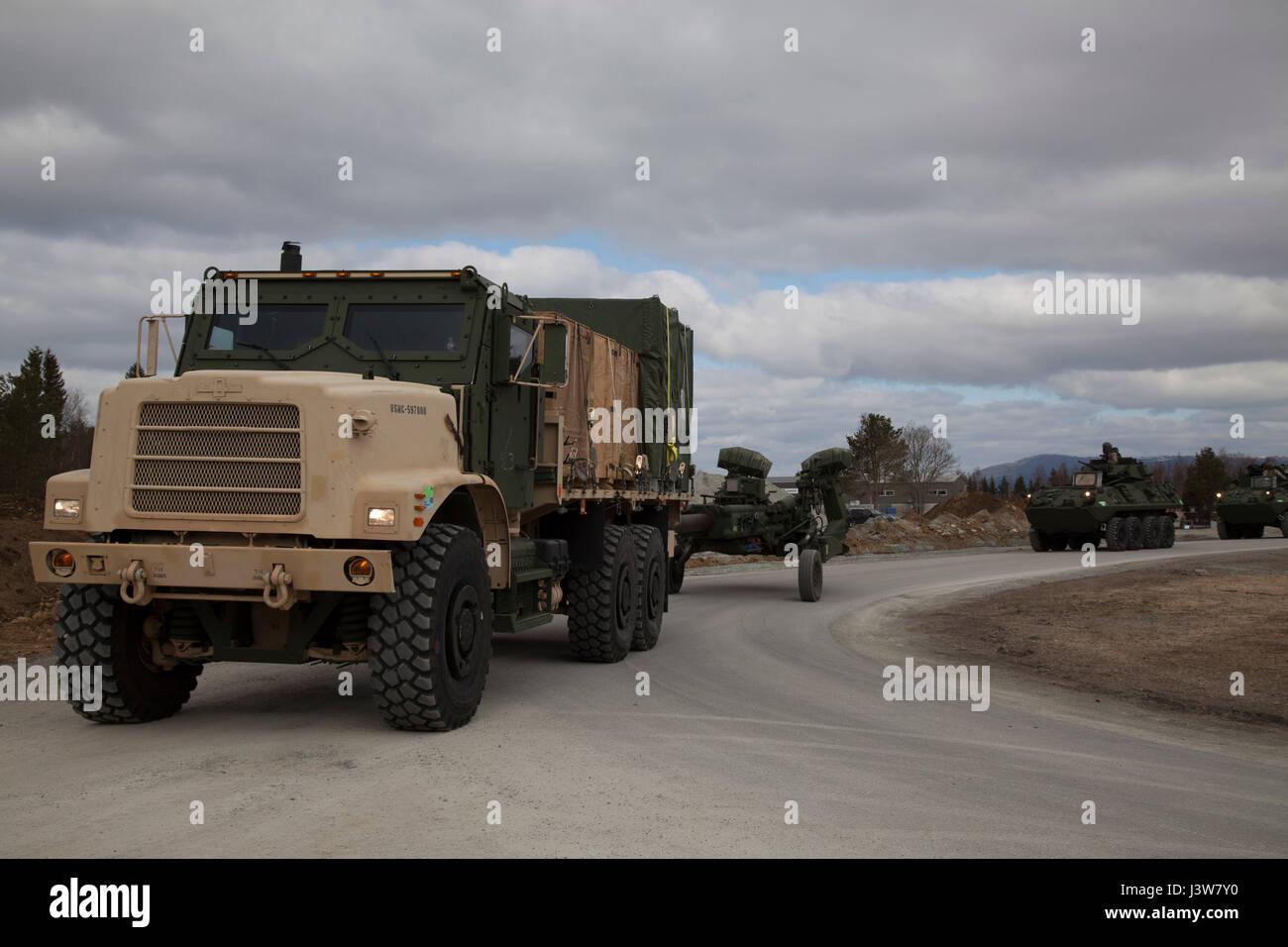 Marines with 2nd Transportation Support Battalion, Combat Logistics Regiment 2, 2d Marine Logistics Group, drive Stock Photo