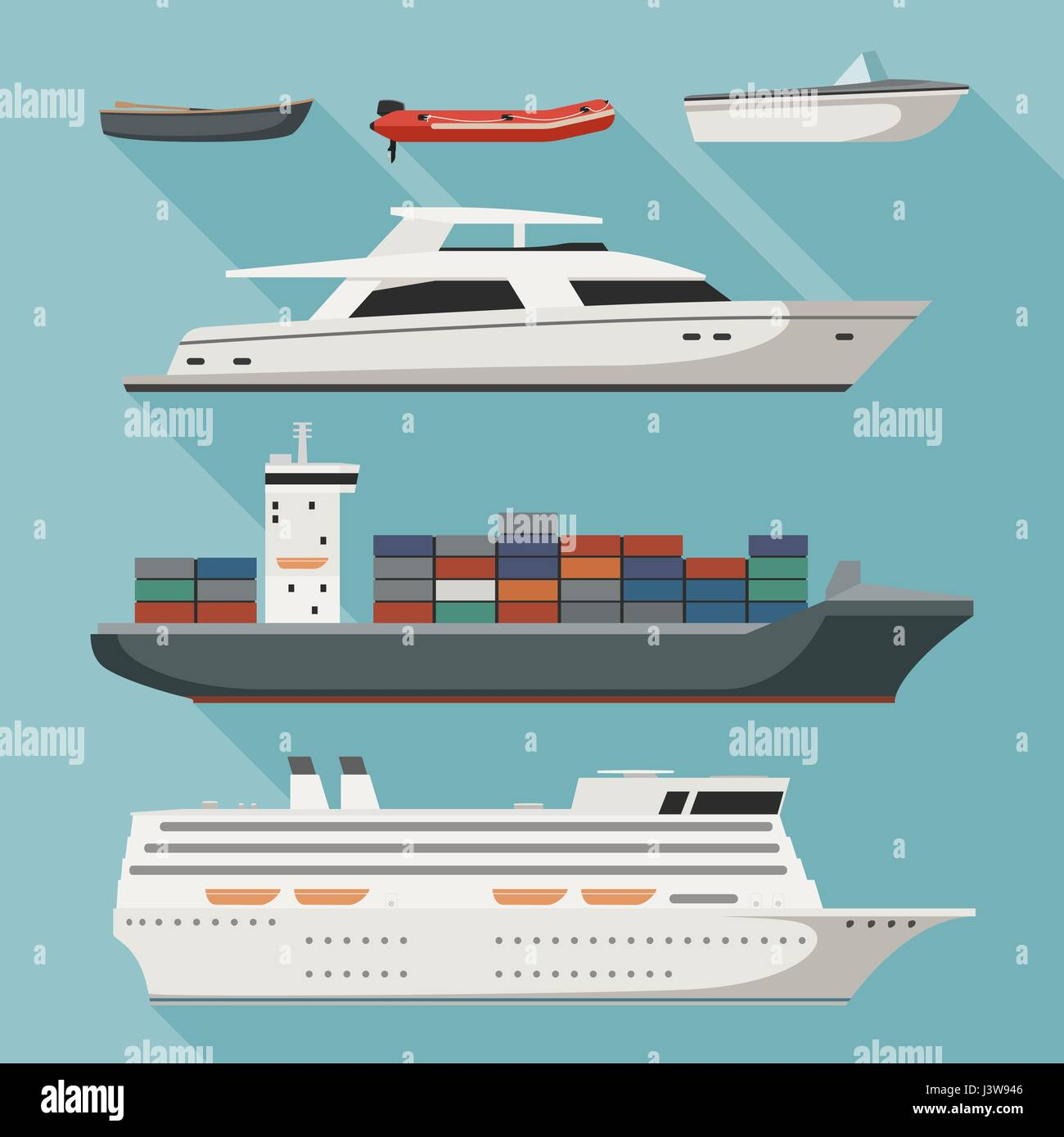 Ships and boats - Stock Vector