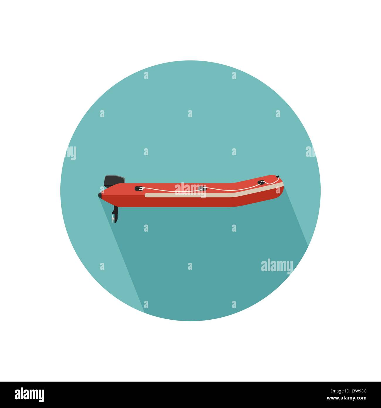 Inflatable red boat - Stock Vector