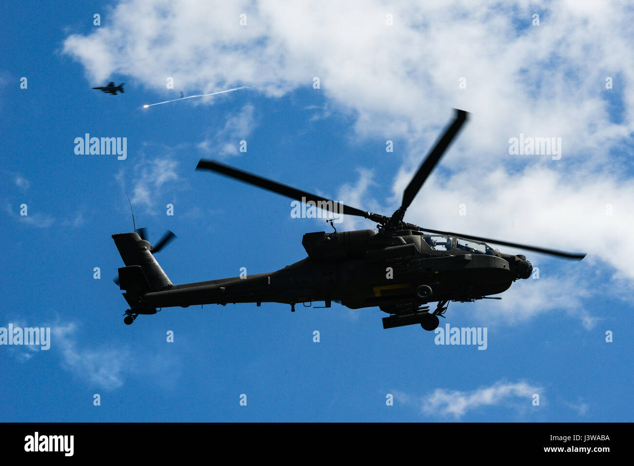 A U.S. Army AH-64D Apache Attack Helicopter, assigned to the 1-151st Attack Reconnaissance Battalion, during the Stock Photo