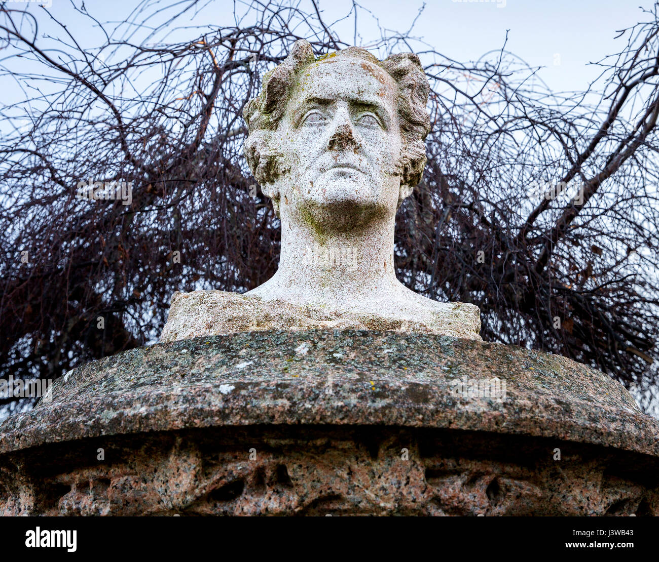 Bust of French writer and politician Francois-Rene de Chateaubriand in Treguier, France - Sculpture by Yves Kerguenou Stock Photo