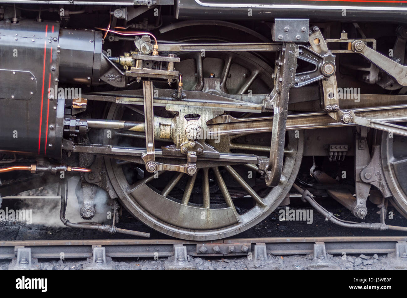 Closeup of the wheel on an old steam locomotive. - Stock Image