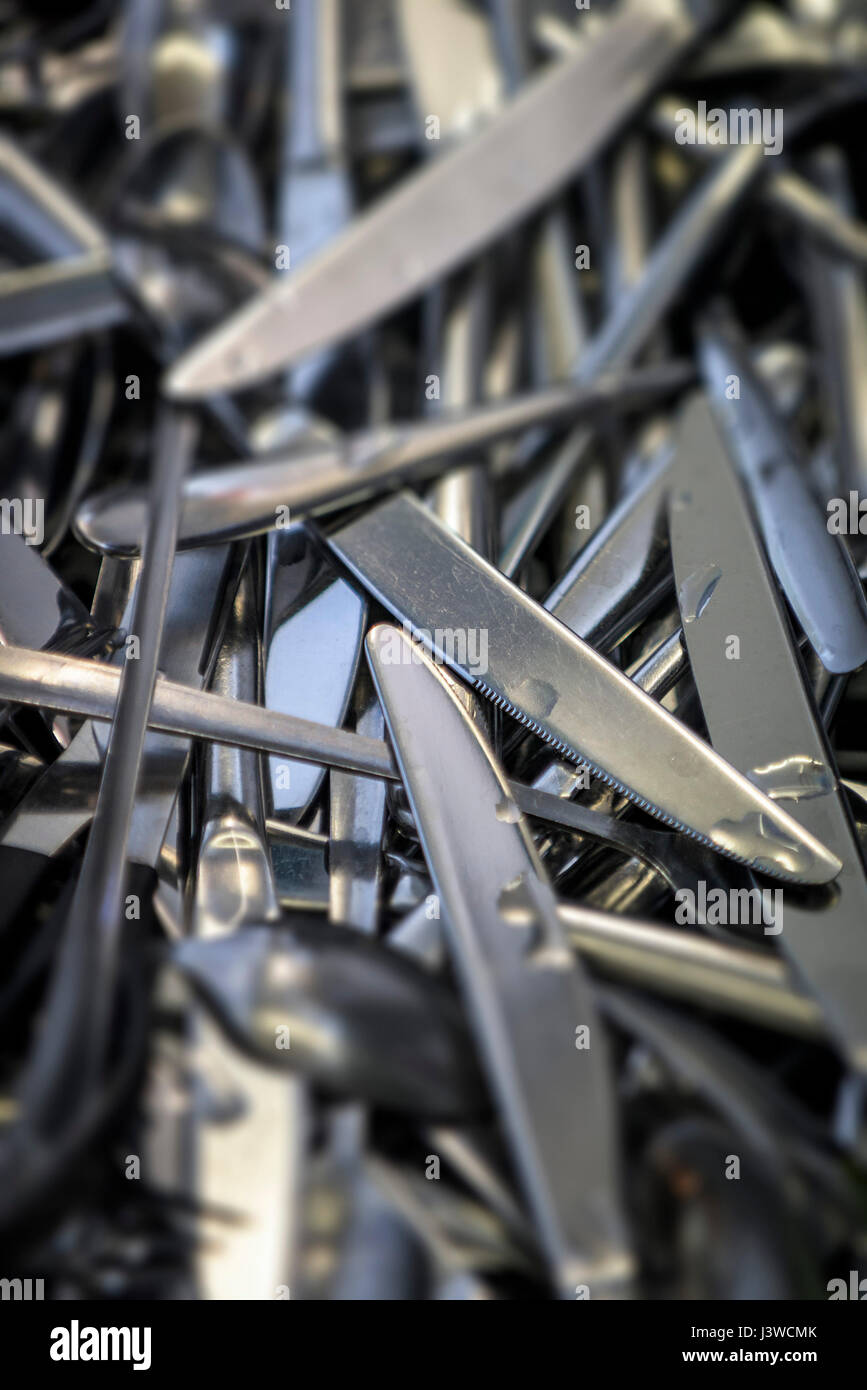 Cutlery Utensils Knives Forks Cleaned Washed - Stock Image