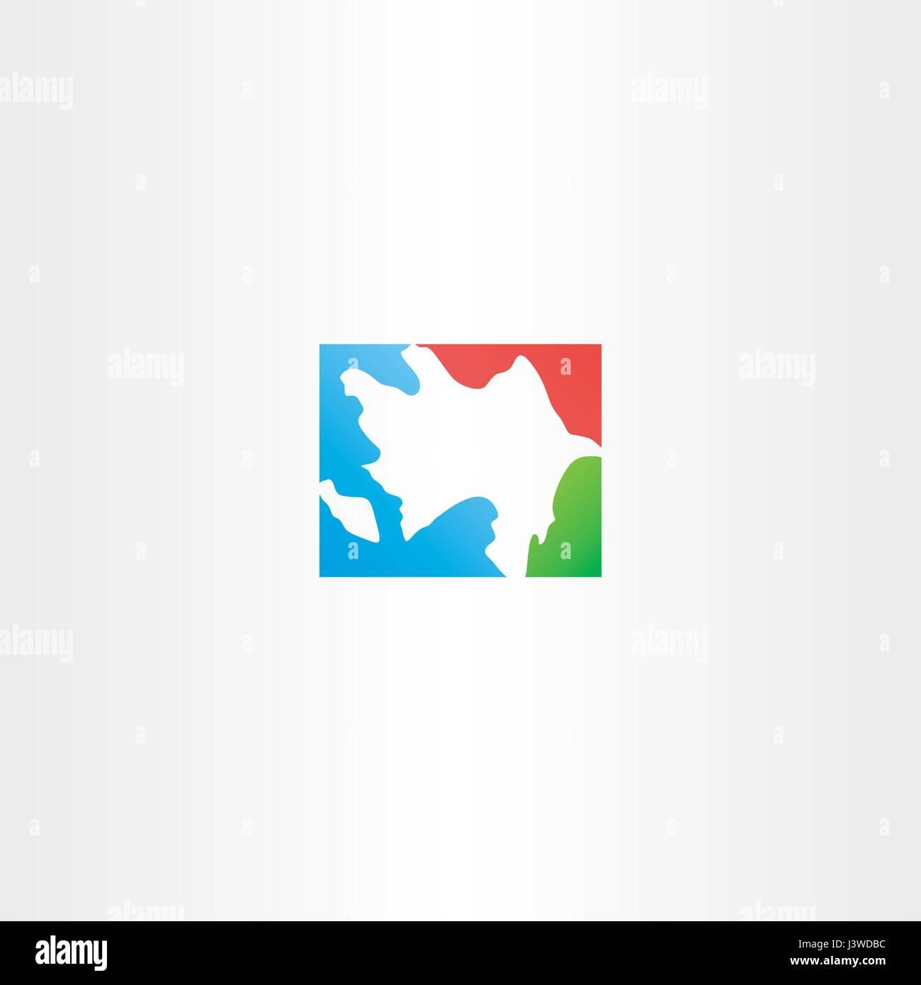 azerbaijan map icon logo vector design - Stock Vector
