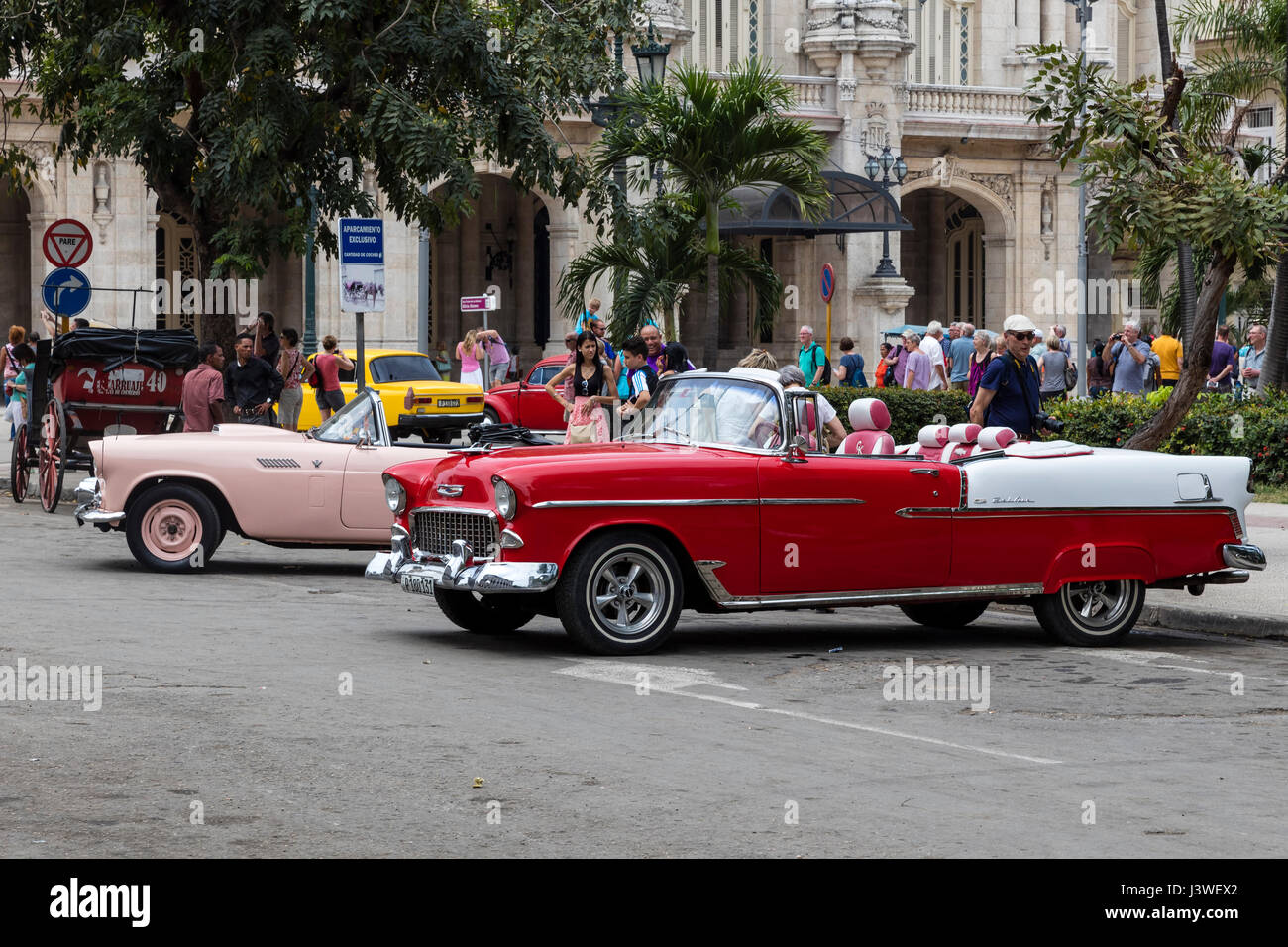 Old classic american cars in the streets of Old Havana Stock Photo ...
