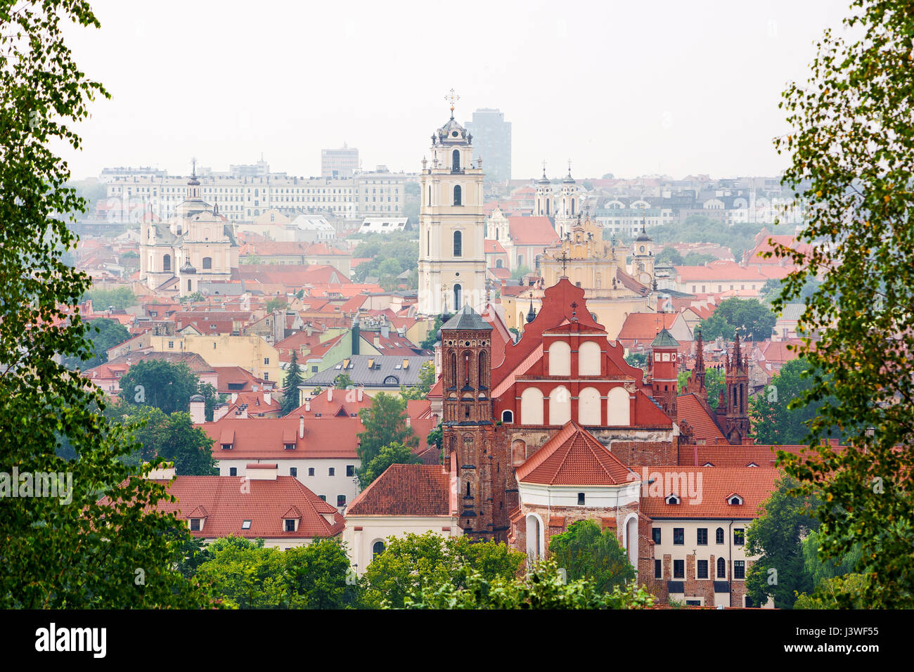 Cityscape of Vilnius (Lithuania), Church of all Saints - Stock Image