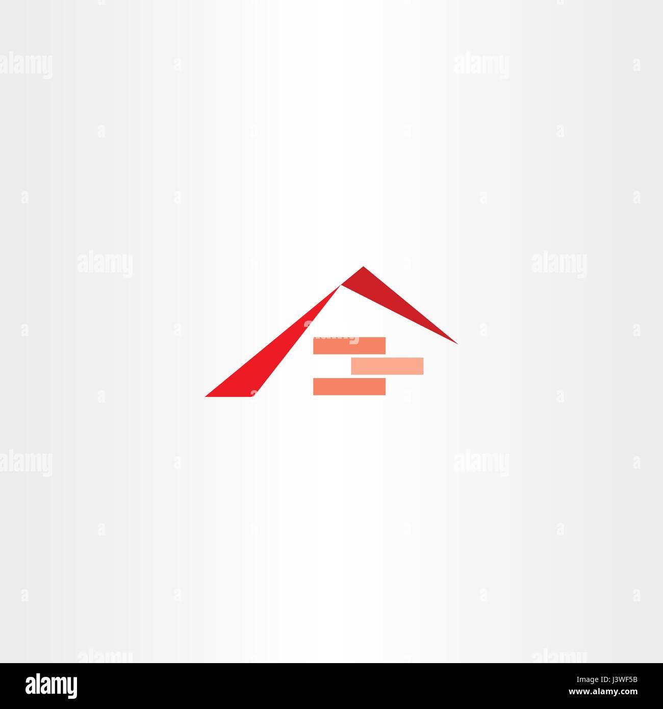 house construction roof brick logo company - Stock Vector