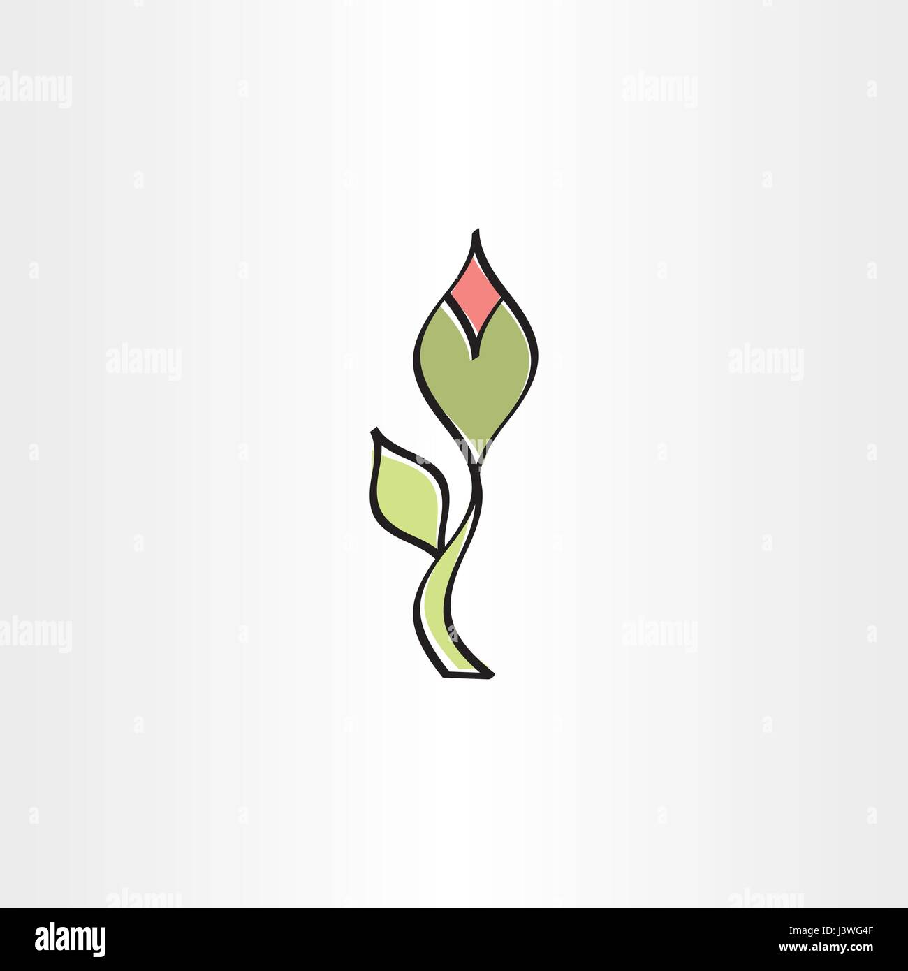stylised flower with outline vector icon design - Stock Vector