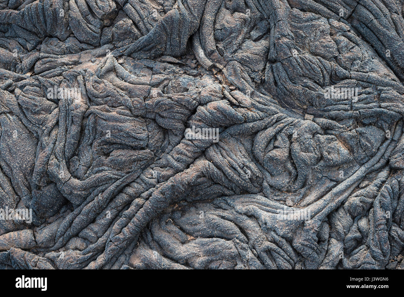 Detail of pahoehoe or ropy lava flow surface near La Restinga, El Hierro, Canary Islands, Spain - Stock Image