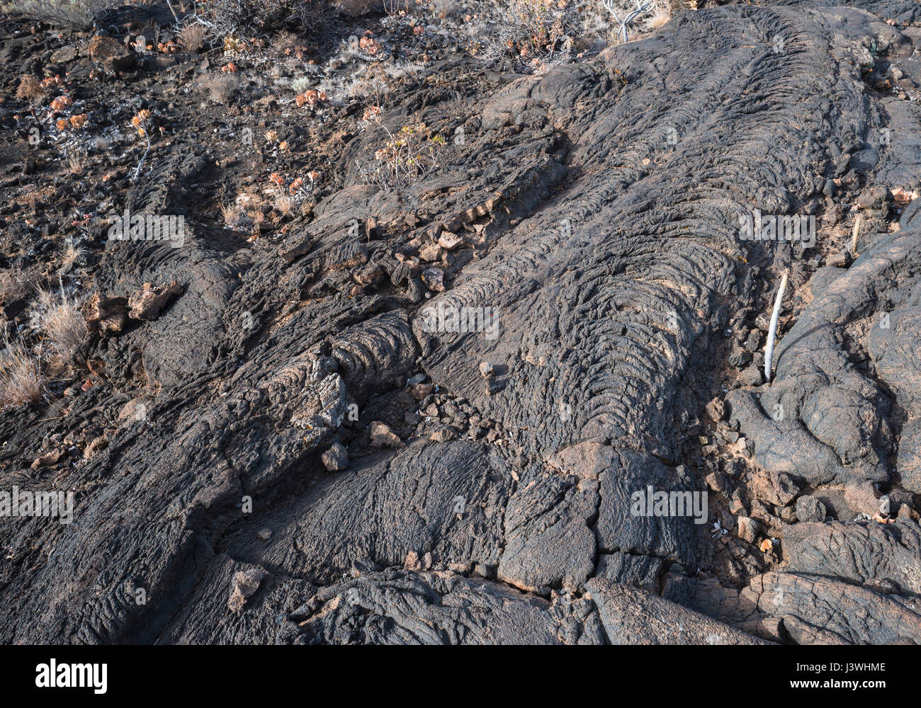 Basaltic lava flows with pahoehoe or ropy textures at Tacoron on the south coast of El Hierro, Canary Islands - Stock Image