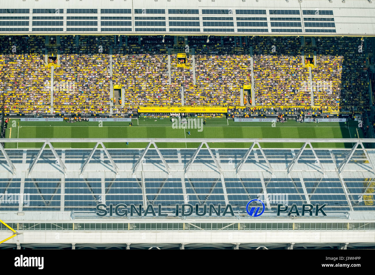 East stand with coach bank, view from airplane to BVB stadium, BVB against TSG Hoffenheim, Signal Iduna Park, BVB - Stock Image