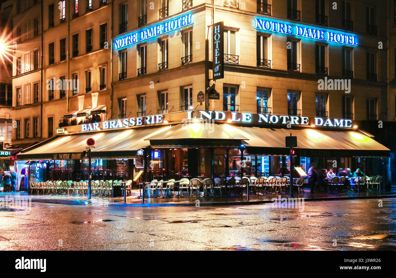 Paris, France-April 30 ,2017 : The traditional Parisian cafe Le notre Dame located near Notre Dame cathedral. Stock Photo