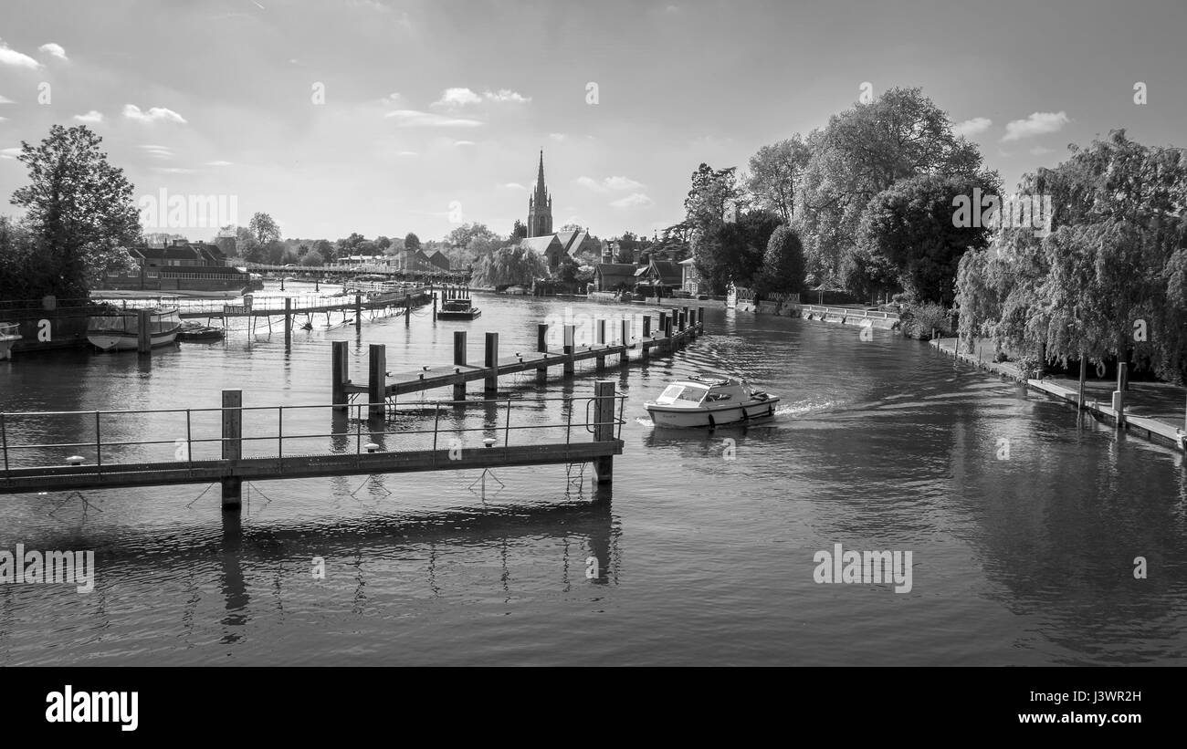 River Tames at Marlow UK with weir and church - Stock Image