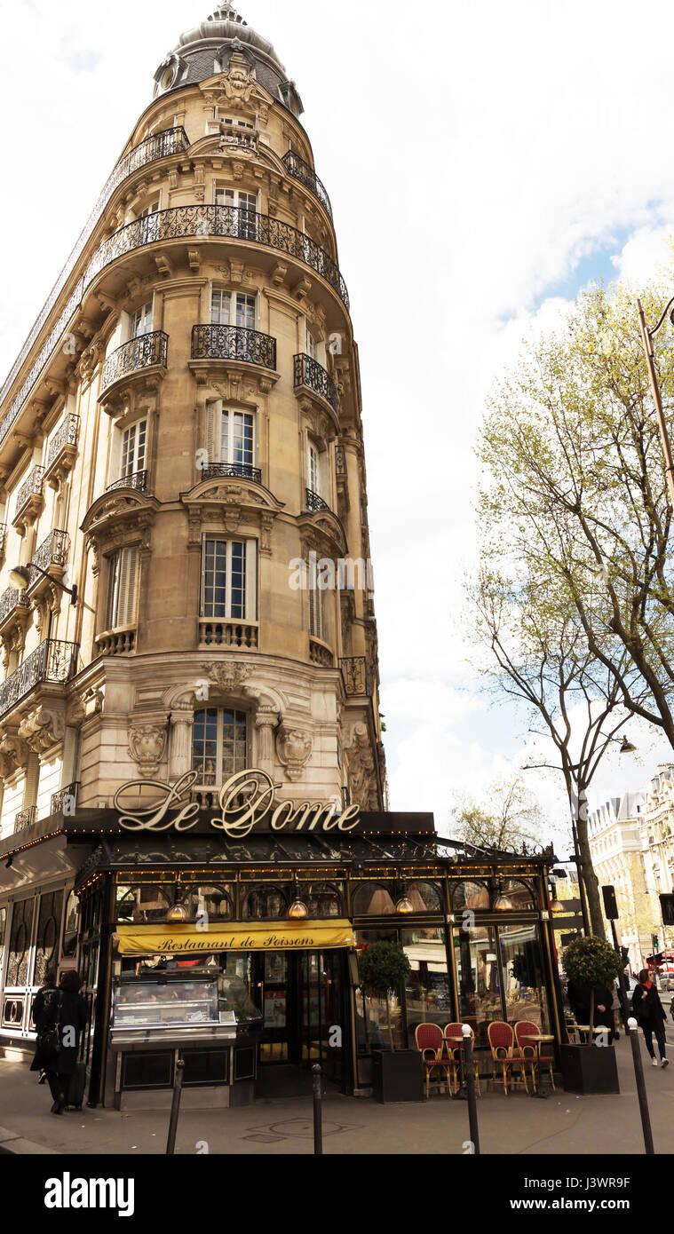 Paris, France-April 02 ,2017 : The famous restaurant Le Dome located on Montparnasse boulevard. Stock Photo