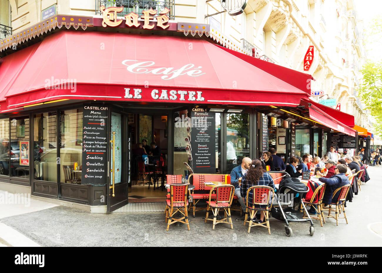 Paris, France-April 02 ,2017 : The traditional Parisian cafe Le Castel located near Eiffel tower in Paris, France. Stock Photo