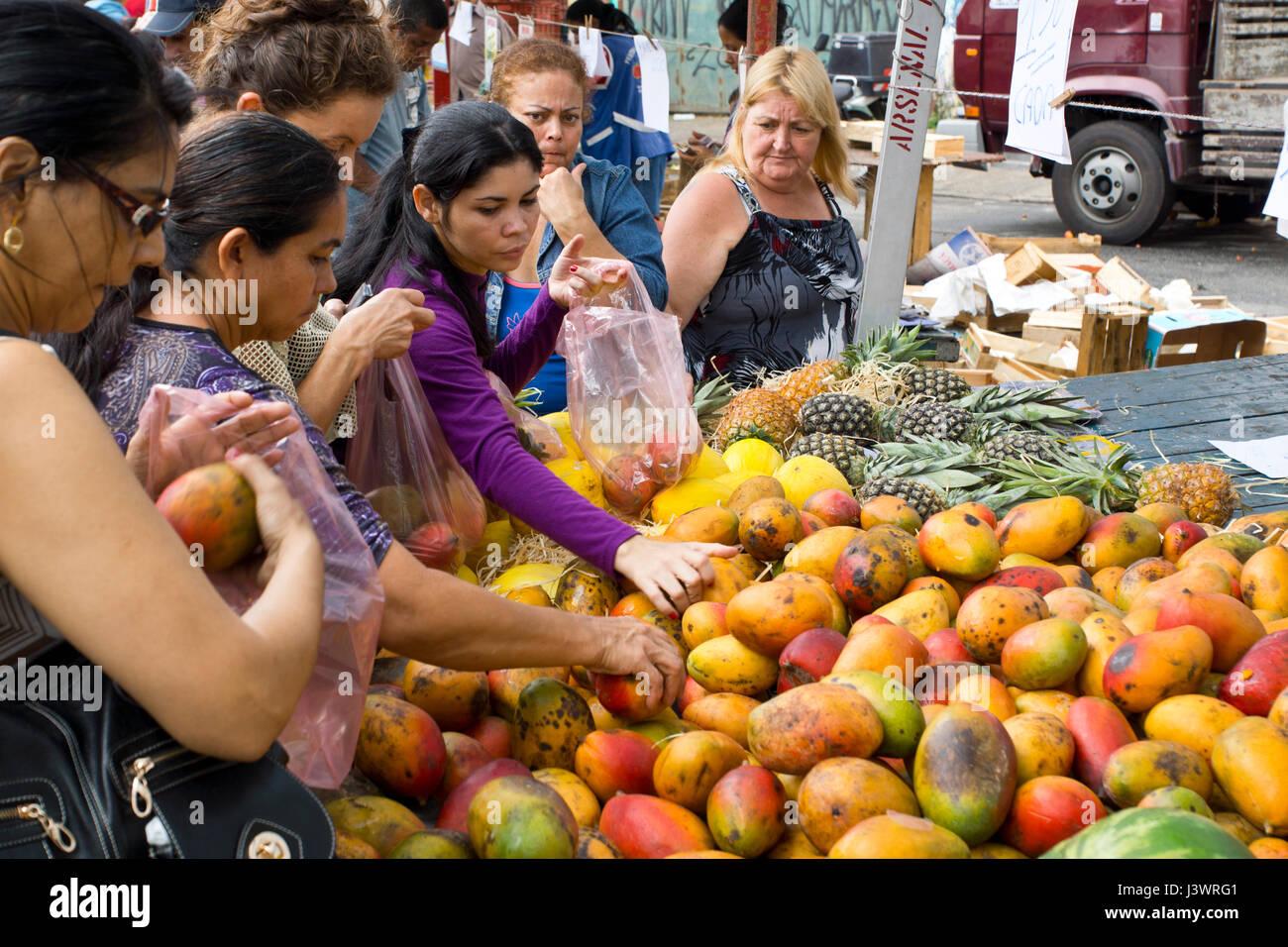 brazilian markets offer a huge  variation of fruits and vegetables - Stock Image