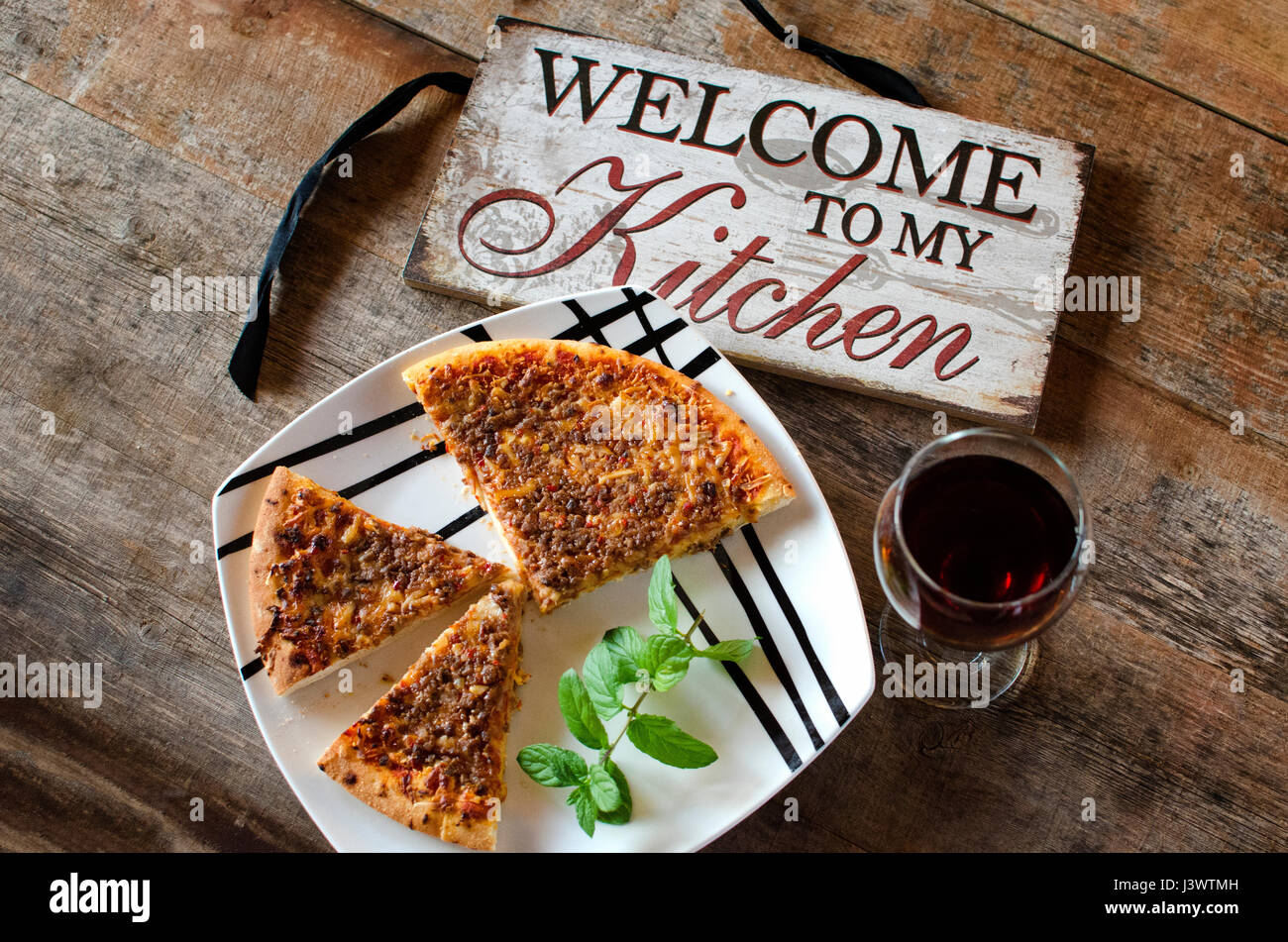 Pizza Welcome To My Kitchen Stock Photo Alamy