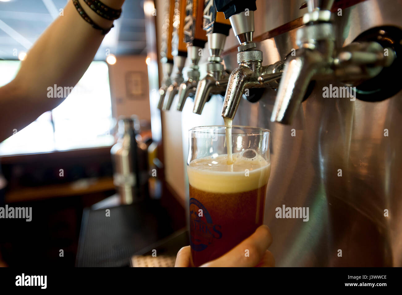 USA Virginia VA woman pouring a glass of house made beer at the Alewerks Brewery - Stock Image