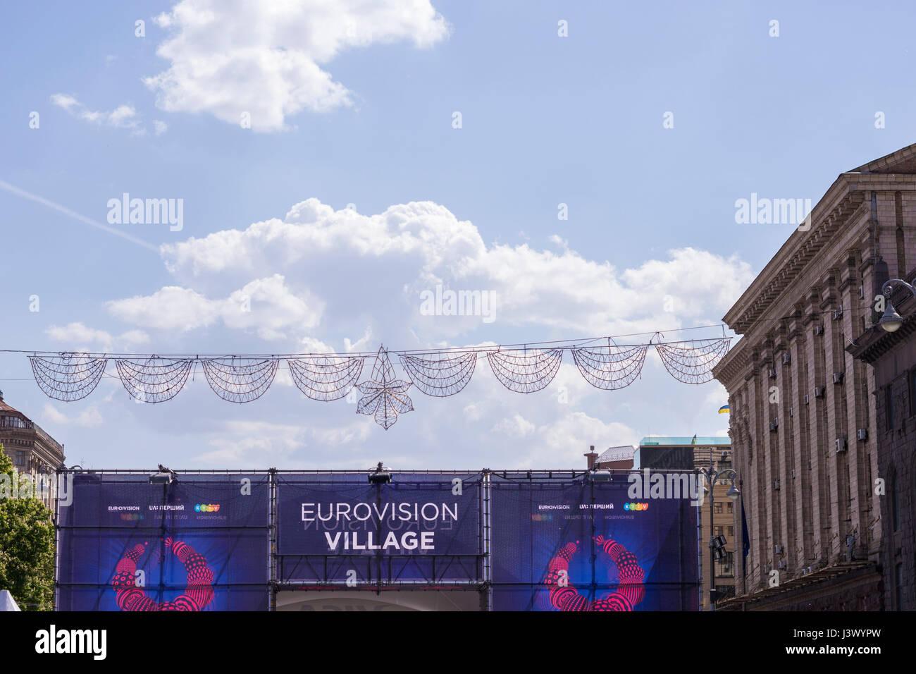 KIEV, UKRAINE - MAY 7, 2017: entrance to Eurovision Fan Zone under Blue Sky Credit: Denys Davydenko/Alamy Live News - Stock Image