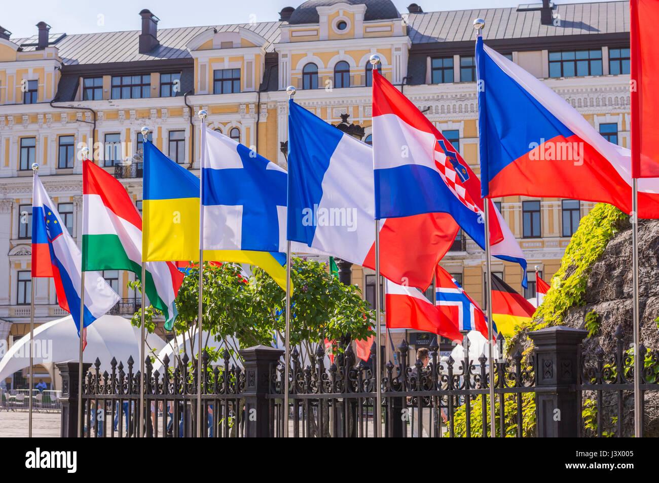 KIEV, UKRAINE - MAY 7, 2017: flags of European countries in Eurovision fan zone in Kiev, Ukraine, 2017 Credit: Denys - Stock Image