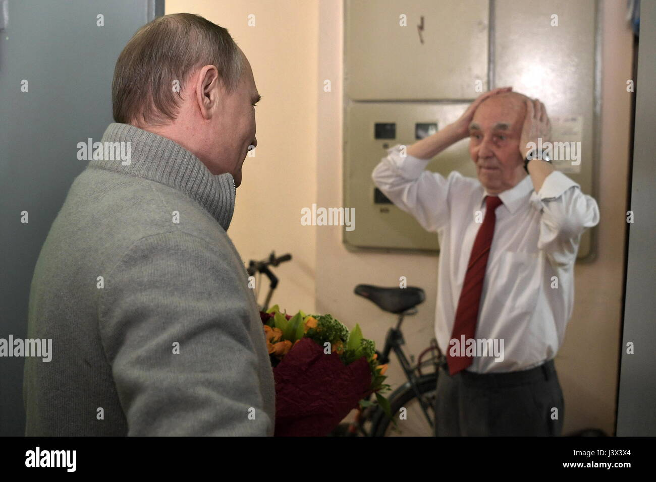 Moscow, Russia. 8th May, 2017. Russia's president Vladimir Putin (L), and the former representative of the Committee - Stock Image