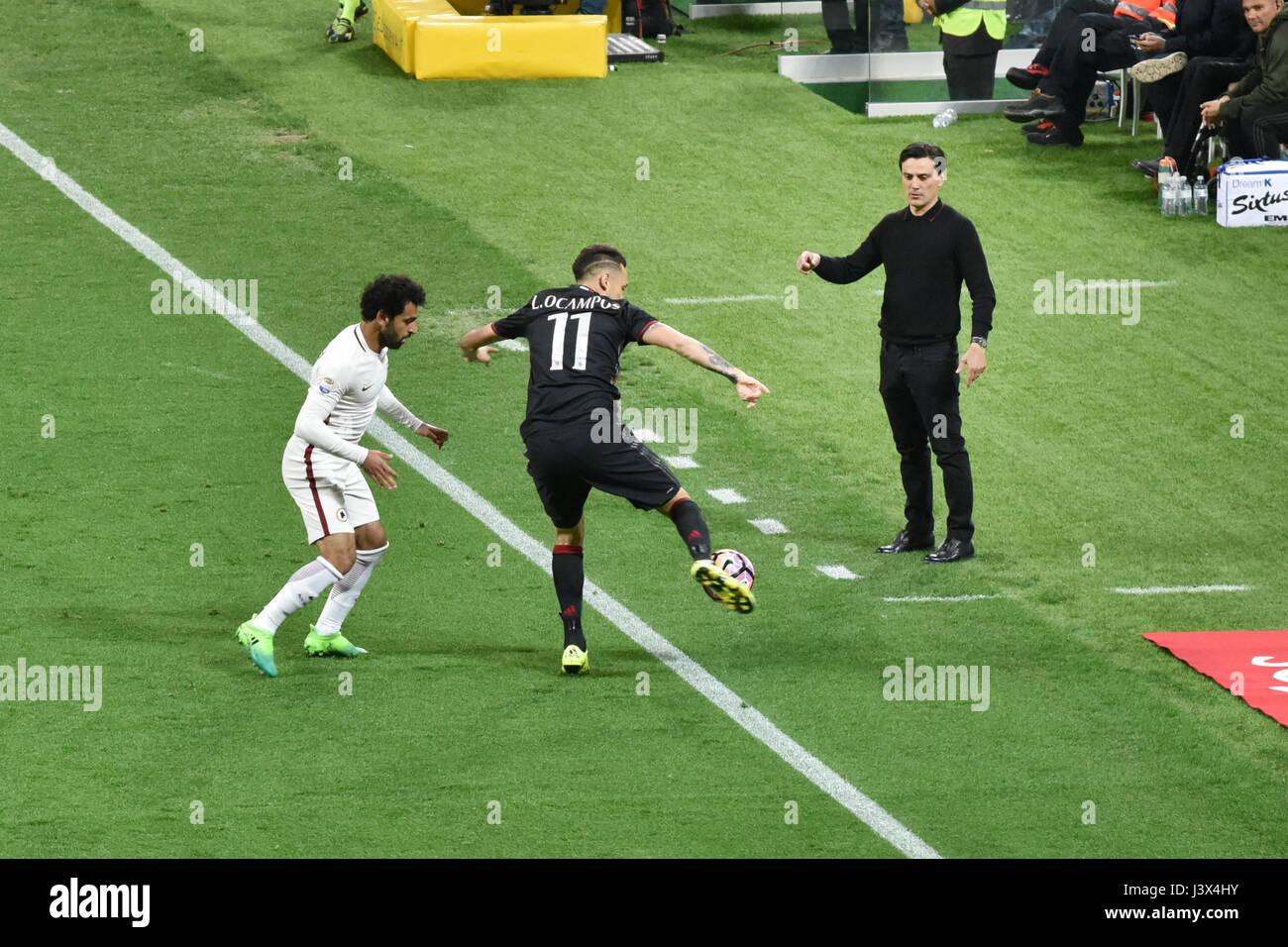Milan, Italy. 7th May, 2017. italian serie A soccer match AC Milan vs AS Roma, at the san siro stadium, in Milan. Stock Photo