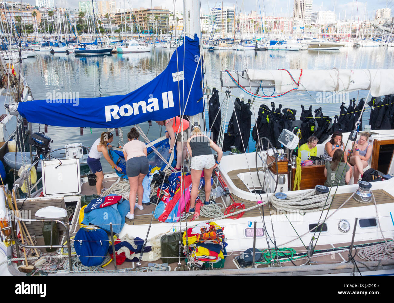 Las Palmas, Gran Canaria, Canary Islands, Spain, 8th May 2017.  Tall ships taking part in the 2017 Rendez-Vous Tall - Stock Image