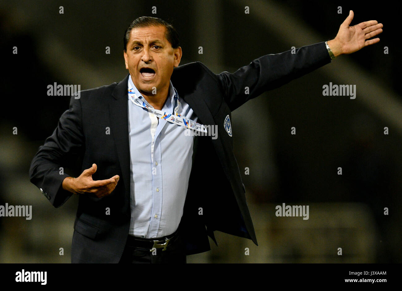 Doha, Qatar. 8th May, 2017. Ramon Angel Diaz, head coach of Al-Hilal reacts during the AFC Asian Champions League Stock Photo