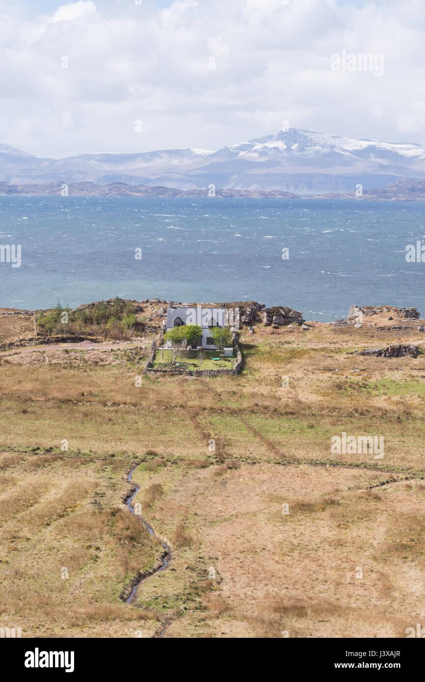 Remote house in Scottish Highlands, Callakille, Applecross, Scotland, UK - Stock Image