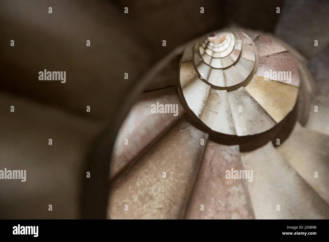 Sagrada Familia, interior view, spiralling staircase, Barcelona, Catalonia, Spain Stock Photo