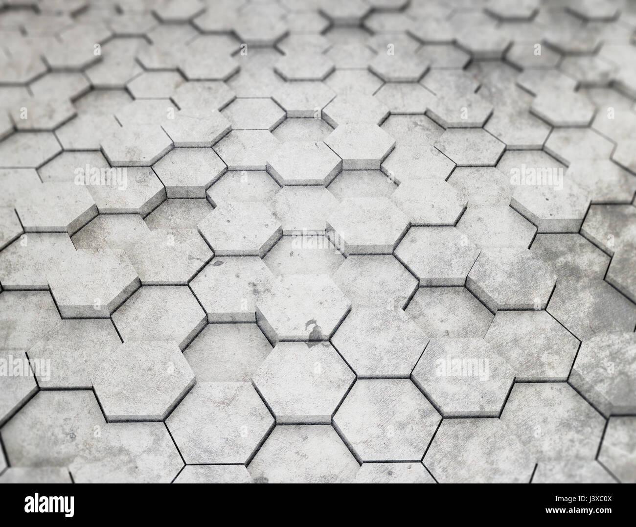 Hexagon pattern 3d background - Stock Image