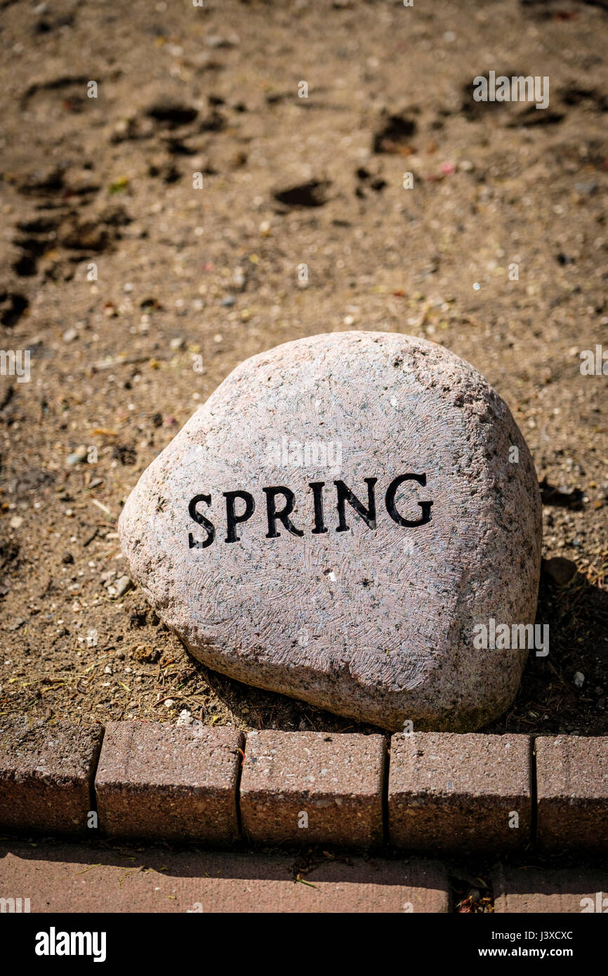 Word Spring written, engraved, embossed, on a decorative garden ...