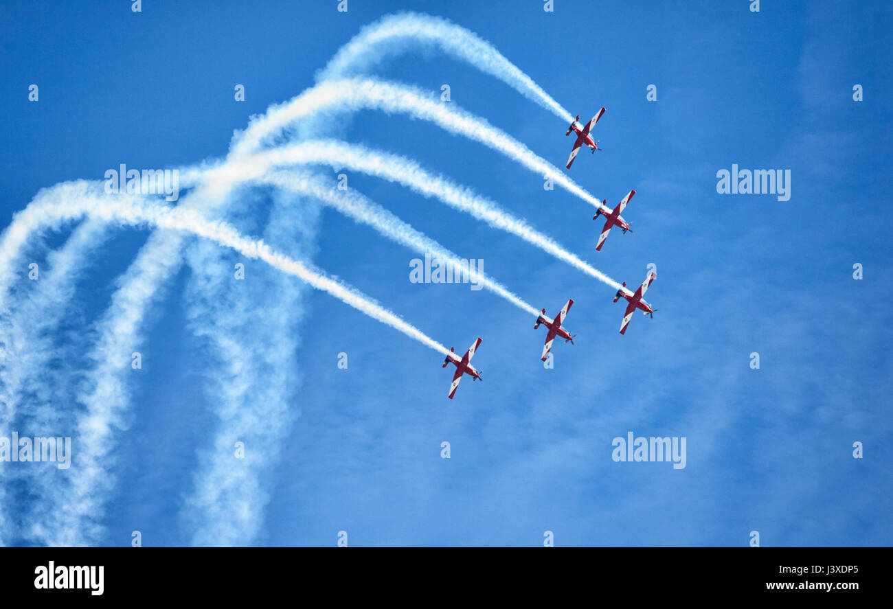 Pilatus PC-9A A23-037 of the RAAF Roulettes Formation Aerobatic Team performing at Wings over Illawarra 2017 Airshow, - Stock Image