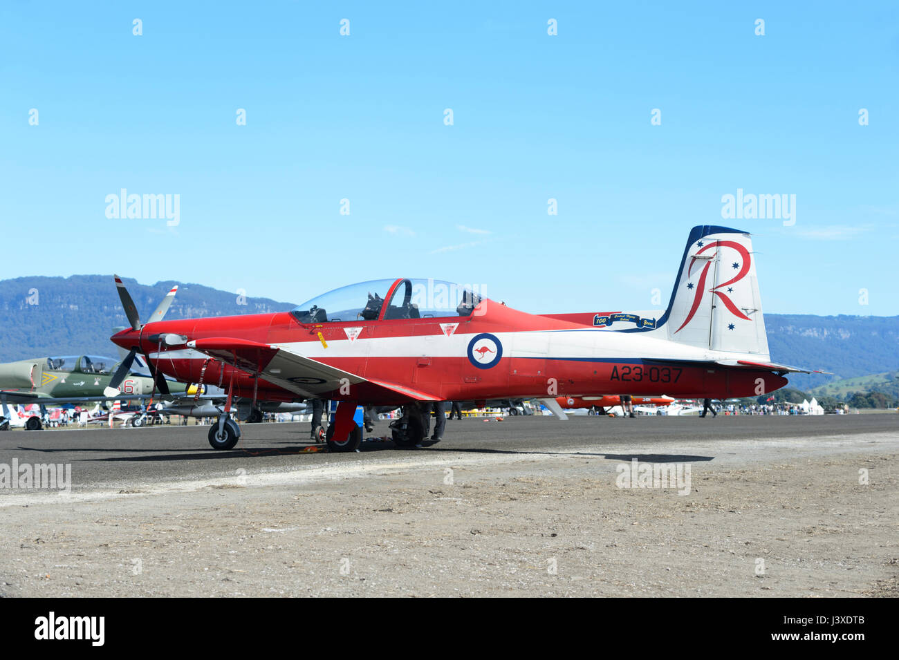 Pilatus PC-9A A23-037 of the RAAF Roulettes Formation Aerobatic Team at Wings over Illawarra 2017 Airshow, Albion - Stock Image