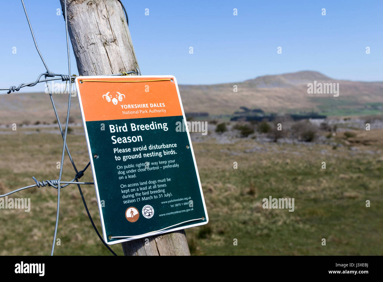Advice Sign for Dog Owners, with the Mountain of Whernside in the Background. Southerscales, Ingleborough, Yorkshire - Stock Image