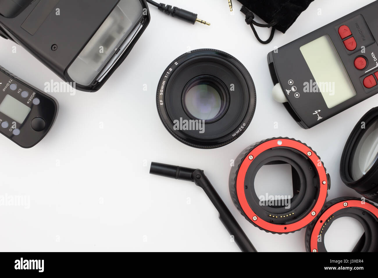QUEENSTOWN, SOUTH AFRICA - 7 May 2016: Photographic equipment close up isolated on white background - Illustrative - Stock Image