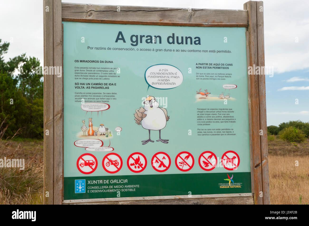 Natural Park Dunas de Corrubedo y Lagunas de Carregal y Vixan-informative poster, Olveira, Ribeira, La Coruña - Stock Image